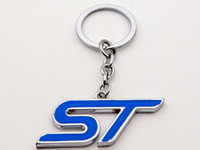 Wholesale Ford Focus Chrome - Blue ST Chrome Finish Key Chain KeyChain Keyring Key ring Fob Keyhoder For Ford Focus