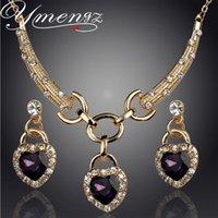 Wholesale Ocean Heart Jewelry Sets - YMENGZ Romantic Ocean Heart Pendant Design Wedding Set Gold Plated Austrian Crystal Necklace Earrings Jewelry Set For Women