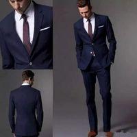 Wholesale Best Suits For Men - Custom Made Dark Navy Blue Men Suit 2018 Fashion Groom Suit Wedding Suits For Men Slim Fit Groom Tuxedos For Best Man(Jacket+Pants)