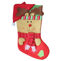 Wholesale Ornament Hangers - 3Pcs  Lot 45X 23.5Cm New Year Christmas Socks Santa Claus Tree Ornaments Stocking Hanger Candy Gift Bag For Home Decorations Kids 2017