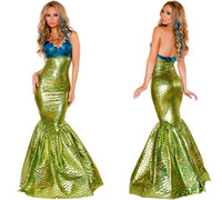 Wholesale Mermaid Costume Xl - Malidaike Halloween Party Cosplay Mermaid Dress Women Sexy Green Mermaid Dress Costume
