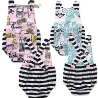 Wholesale Babies Leopard Print One Piece - INS new babies rompers Cactus lemon printed baby fashion one-piece romper infant toddler clothing child jumpsuit