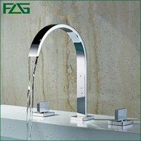 Wholesale Top Waterfall Faucet - FLG 2016 Top Sale Bath Mat Bathtub Faucet Double Handle 3pcs Waterfall Spout Cold&Hot Chrome Faucet Ceramic Bath Robinet Tap 109