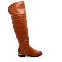 Wholesale Wholesale Thigh High Boots - SH1307 over knee fashion leather flat boots for women sexy brown thigh high boots with side zipper waterproof easy cleaning size 37-43