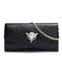 Wholesale America Bridal - 2017 New Arrivals High Quality Bridal Fox head Genuine Leather Europe and America Crocodile pattern shoulder Bags Free Shipping