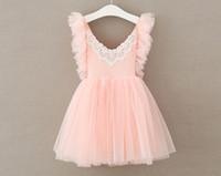 häkeln blumen tulle kleid großhandel-INS Süße Mädchen Häkelspitze Tutu Kleider Baby Mädchen Tüll Blumendruck Kleid Prinzessin Hochzeit Kleid Kinder Boutique Kleidung
