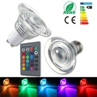 Wholesale 4w Rgb E27 Remote - New Sale RGB LED Light Bulb 4W E27 MR16 Many Colors Changing Crystal Glass LED Spotlight Bulb +24 Key Wireless Remote Controller