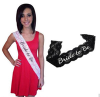Wholesale Shower Costumes - Classic Bride To Be Black And White Lace Sash Hens Night Wedding Shower Bachelorette Party TOP1705