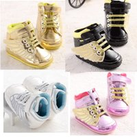 Wholesale Toddler Shoes Wings - 2016 Spring Cute Golden Wing Soft PU Black Leather Baby Boys Girls Fashion Sneakers Infant Bebe Indoor Crib Shoes Toddler Shoes