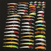 Wholesale Treble Hook Flies - Bobing 56Pcs lot Almighty Mixed Fishing Lure Bait Set Wobbler Crankbait Swimbait With Treble Hook Minnow Bait Carp Fish Spinners