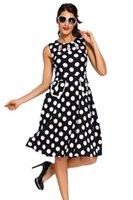 Wholesale Sexy Polka Dot Dress - Sexy vintage a-line dresses Sweet Red Polka Dot Bohemain Print Dress with Keyholes Plus Size Women Clothing Lc61043