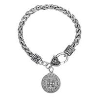 Wholesale Metal Dragon Bracelet - Handmade Eco-friendly Metal Alloy Dragon Shield Pendant Bracelet Wiccan Snap-jewelry Irish Knot Pendant Bracelets
