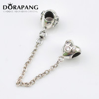 Wholesale screw core silver - DORAPANG 925 Sterling Silver Thread Screw Core Heart of Mi Mouse Safety Chain Charm with Cz Fits European Charm Bracelets 5006