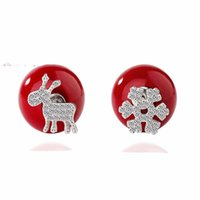 Atacado 6pair / lot Fashion 925 Sterling Silver Christmas Jewelry para meninas Red Lovely Deer Snowflake Stud Earring For Women Ball Pearl Gift