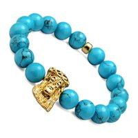 Wholesale Blue Bead Bangle Bracelets - Strand Bracelets Men Round Blue Bead Charm Bangle Women Gift Elastic Brand Charm Bracelet Bohemian Tibetan Sky Blue Beads