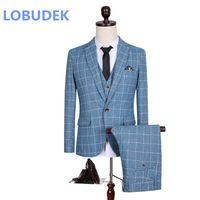 Wholesale Men Light Blue Suit Wedding - (jacket+vest+pants) male suit light blue lattice jacket blazer three pieces set men's wedding groom clothing formal party dress studio shoot