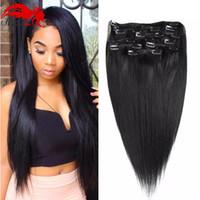 26 siyah insan saç uzatması toptan satış-Hannah ürün Düz Brezilyalı Olmayan remy Saç # 1B Doğal Siyah Renk İnsan Saç Klip Uzantıları 70 Gram 12 ila 26 inç