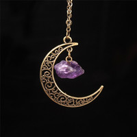 Wholesale crescent moon pendant necklace for sale - Group buy Crescent Half Moon Pendant Necklace Natural Stone Prehnite Amethyst Crystal Healing Reiki Gemstone Antique Bronze Necklace Goddess Jewelry