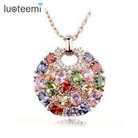 Wholesale luoteemi resale online - LUOTEEMI Hot Multicolor Crystal Round Necklace Pendants for Women Rose Gold Color Multicolor CZ Zircon Pendant Necklace