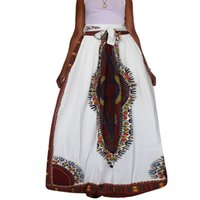 Wholesale Traditional Ball Gowns - 2017 Traditional African White style Maxi Vintage Bohemian Ethnic Pattern Hippie Boho Long Skirt Swing Dress Skirts