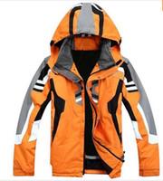 Wholesale Orange Snowboarding Jackets - High quality outdoor sportswear ski jacket men ski suit windproof waterproof skiing clothing Free Shipping