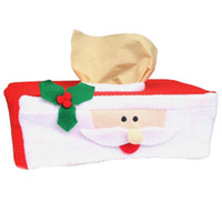 Wholesale Car Wrappers - Wholesale- Christmas Paper Tissue Napkin Box Cover Case Wrapper Xmas Home Office Car Decoration