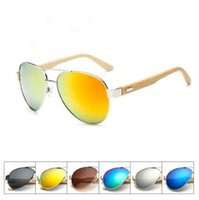Wholesale bamboo wooden shades - 9 Colors Brand Designer Wooden Frog Sunglasses Bamboo Sunglasses Classic Shades Unisex Sports Sunglasses CCA7237 10pcs