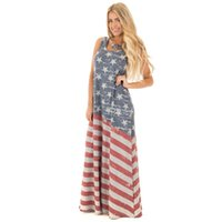 Wholesale casual maxi dresses for girls - 2017 New Arrival Women Dress Hot Style American Flag Printed Dresses Maxi Dress For Girls