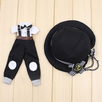 Wholesale Gothic Top Hats - [MG417]2017 New Blythe Doll Outfits # Punk Style Overall, Top and Hat Set For Blythe Azone Jerryberry Doll Outfits For Retail