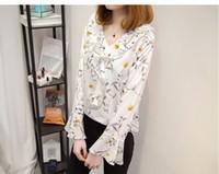 Wholesale Korean Ladies Chiffon Ruffle Blouse - women plus size pullover blouse Korean style classic top ladies chiffon shirt floral print pattern 5sizes