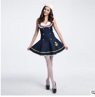 Wholesale Navy Sailor Dress - European and American sailor suit Navy role-playing Sexy dress uniform temptation Nautical Costume Halloween cosplay Uniform temptation