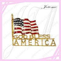 Asian & East Indian bless flags - 100PCS Newest design Patriotic Golden Tone God Bless America Flag Rhinestone Brooch Pin American Patriotic Costume Jewelry