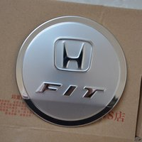 Wholesale Honda Fit Fuel - HONDA FIT 2009-2013 Stainless Steel Fuel Cap Tank Cover 1PC SET Car Covers External Automobile Parts AT3178