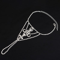 Wholesale Sports Body Jewelry - Wholesale Body Chain Jewelry Silver Anklet Slave Ankle Bracelet Crystal Rhinestone Sparkly Toe Ring Barefoot Sandal Anklet for Women 1208