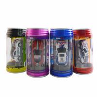 mini uzaktan kumandalı yarış arabaları toptan satış-Toptan-8 adet rc mirco mini radyo kontrol araba Coke Can Racing Yeni 4-direction Uzaktan Kumanda Araba 1:63