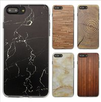 Wholesale Iphone 4s Case Wood Grain - For Iphone 7 Case Marble Skin Wood Grain Patten Cases Retro Stripe Rock Stone Design TPU Painted Case Cover for iphone 6 6S 7 plus 5s SE 4S