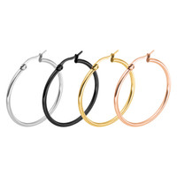 Wholesale Gold Filled Heart Earrings Hoop - Rose Gold Hoop Earrings For Women Punk Titanium Steel Huggie Big Earrings Simple Circle Earrings For Women Accessories