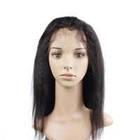 Wholesale Tangle Free Kinky Straight Hair - Brazilian Virgin Hair Lace Front Human Hair Wigs Uglam Kinky Straight With Baby Hair 150% Density Free Shipping Unprocessed No Tangle