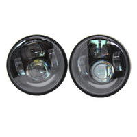 Wholesale dual motorcycle headlight - 4.5 inch Twin Dual Daymaker LED Headlight For '08-later Harley Davidson Fat Bob FXDF Motorcycle Daymaker Projector led Headlamp