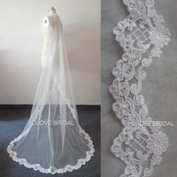 Wholesale Lace Pearl Meter - Designer Luxury Two Meter Wedding Veil Lace Appliqued One Layer Metal Comb Bridal Party Hair Accessory Veils 2 Choice Factory Real Photo