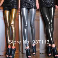 Wholesale Leather Pants Wholesale - Wholesale- Hot Sale New Arrival Women Sexy Shiny Metallic Leggings Pants Faux Leather Stretchy Leggings Punk Stylish Nightclub Pants
