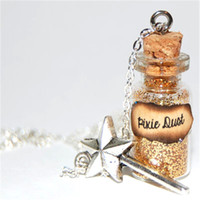 Wholesale Glass Message Bottles - 12pcs lot Pixie Dust Handmade Glass Bottle Necklace pixie dust message silver necklace