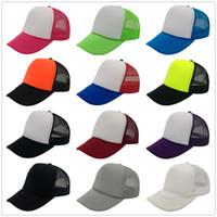 Wholesale Snapbacks Trucker - 23 Colors Fashion Men's Women's Trucker Mesh Hats Baseball Cap Blank Caps Adult 5 Panels Snapbacks Adjustable Caps Accept Custom Made Logo
