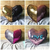 Wholesale Heart Shaped Decorations Home - Mermaid Heart-shaped Sequins Pillow Case Color Change Sofa Cushions Covers Home Car Bolster Creative Decoration Bedding Supplies 13 5rk R