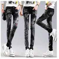 Wholesale Rhinestone Capris - Wholesale- Black Long jeans woman Casual Pencil pants Girl Washed rhinestones Hot drilling printing Skinny Long women Jeans Capris Female