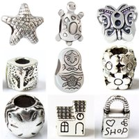 Wholesale Love Shops Dolls - Alloy Charm Bead Love Shop Star Russian Doll House Flower Turtle 925 Silver Plated Fashion Jewelry European Style For Pandora Bracelet M006