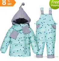 Wholesale Light Blue Girls Winter Coat - new 2016 Children Boys Girls Winter Warm Down Jacket Suit Set Thick Coat+Jumpsuit Baby Clothes Set Kids Hooded Jacket With Scarf