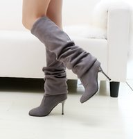 Wholesale Shoes 43 Female - Wholesale-Fashion Women Over The Knee Boots Sexy Thin High Heels Boots Pointed Toe Lady Female Spring Autumn Shoes Boots Big size 34-43