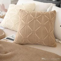 Wholesale Nordic Knit Style - Pillow Case Soft Cotton Knitted Solid Color Sofa Back Cushion Wool Knit Decor Square Pillowcase Nordic Style Cover 26xz F R