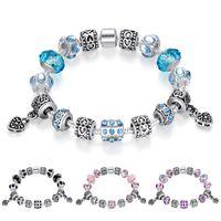 pandora tibetisches silber großhandel-Feine tibetische Silber Perlen Armband Pandora Charms Farbige Glasur Perlen DIY Perlen Stränge Armband Rosa Schwarz Blau Lila 4 Farben Optional
